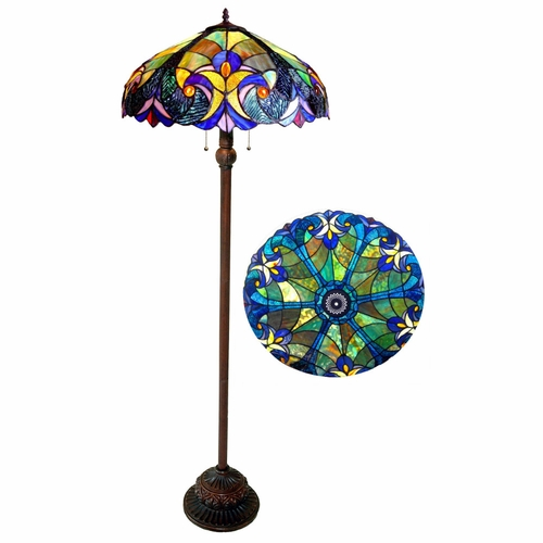 Buy chloe lighting liaison tiffany style 2 light victorian for Floor lamp for quilting
