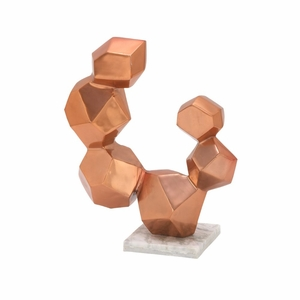 Brilliant Aluminum Sculpture With Marble Base Copper - 49658 by Benzara