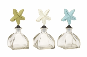 Brilliant Glass Metal Stopper Bottle 3 Assorted - 95253 by Benzara
