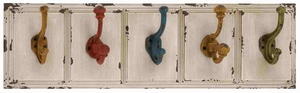 Beautiful Country Inspired Wood Metal Wall Hooks - 34912 by Benzara