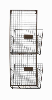 Double Columns Metal Wire Wall Unit - 92621 by Benzara