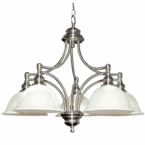 Yosemite Home Decor 5035 5sn Broadleaf Collection Elegant White Satin Nickel 5 Lights Chandelier