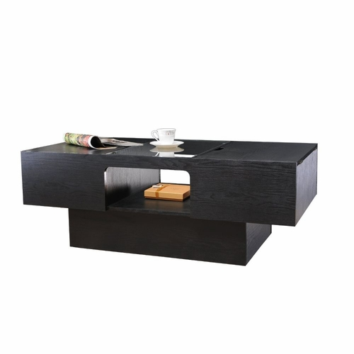 Buy brooks glass top hidden storage black coffee table at for Coffee table with storage and glass top