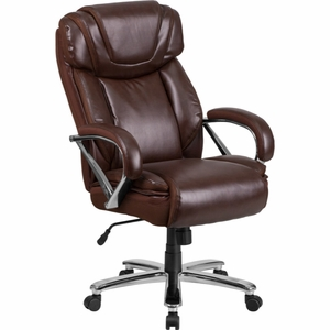 Brown Leather Office Chair - GO-2092M-1-BN-GG by Flash Furniture