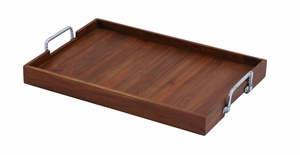 Exclusive Wood And Metal Tray In Striking Versatile Style - 37707 by Benzara