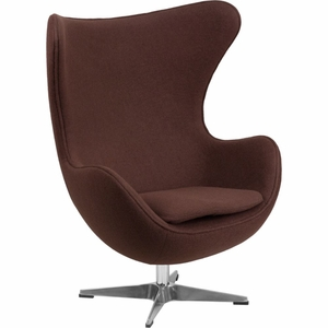 Brown Wool Fabric Egg Chair Brown - ZB-13-GG by Flash Furniture