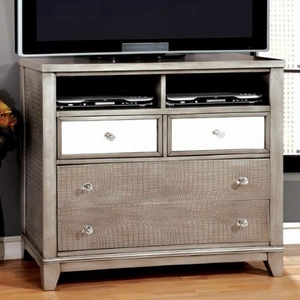 Bryant Modern Style Media Chest With Crystal Knobs, Silver