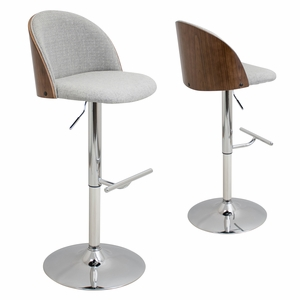 BS-LUNA-WL-W Luna Height Adjustable Barstool with Swivel