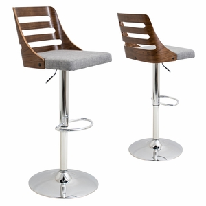 BS-TRV-WL-GY Trevi Height Adjustable Barstool with Swivel