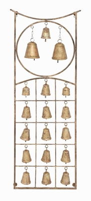 Metal Bell Wall Hanging Plague With Eighteen Bells In Exquisite Circle And Square De - 26805 by Benzara