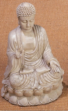 Antique White Polystone Buddha Beautifully Carved 12.75 Inches High - 75188 By Benzara