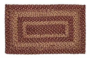 Burgundy And Tan Rectangle Braided Rugs Brand VHC