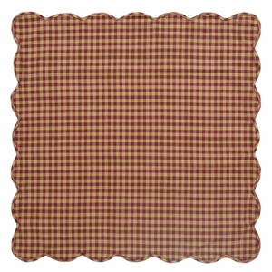 Burgundy Check Scalloped Table Topper 40x40