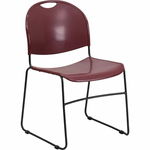 Burgundy Plastic Stack Chair Burgundy - RUT-188-BY-GG by Flash Furniture