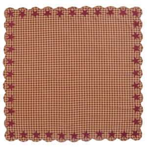 Burgundy Star Scalloped Table Cloth 60x60