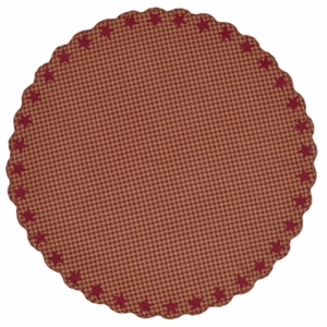 Burgundy Star Scalloped Table Cloth 70 Round