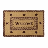 Burgundy Tan Jute Rug Rect Welcome 20x30 - 9507 by VHC Brands