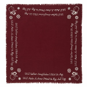 Burlap Merlot Snowflake Table Topper Snowman Quote 40x40