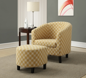 "Burnt Yellow "" Circular "" Fabric Accent Chair / Ottoman"