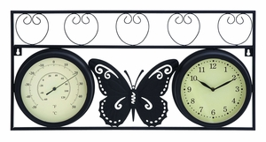 Sophisticated Metal Clock Thermometer With Stylish Look - 35420 by Benzara