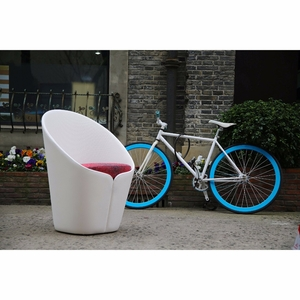 Butterfly Modern White Fiber Glass Petal Lounge Chair
