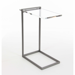 C- Shaped Metal Acrylic Accent Table - 84363 by Benzara