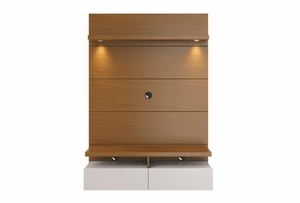 Cabrini 1.2 Floating Wall Theater Entertainment Center in Brown and Off White