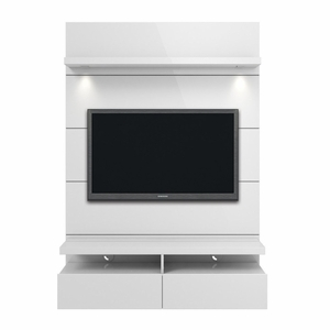 Cabrini 1.2 Floating Wall Theater Entertainment Center in White Gloss