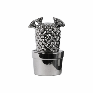 Cactus with Flowers Polished Chrome Finish Silver - Benzara