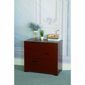 Capacious 3 Drawer Storage Chest With Metal Glides, Cherry Brown Finish.