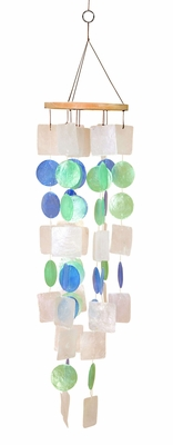 Capiz Shells Wind chime colorful Tinted Wind Chime 22x5  - 40303 by Benzara