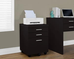 Cappuccino Hollow-Core 3 Drawer File Cabinet On Castors