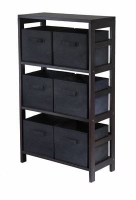 Winsome Woods Capri Espresso 3 Section Shelf with 6 Black Baskets