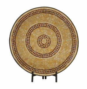 Captivating Metal Mosaic Platter With Easel - 24045 by Benzara