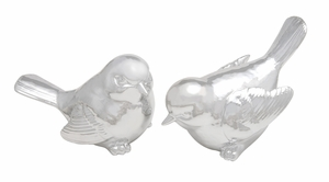 Captivating Polystone Silver Plated Bird Set Of 2 - 76460 by Benzara