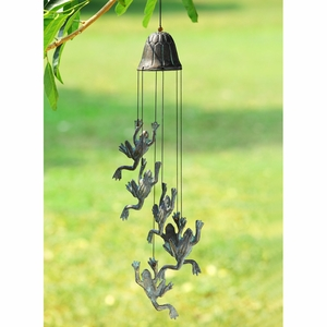 SPI HOME Cast iron Jumping Frog Wind chime in Antique Finish