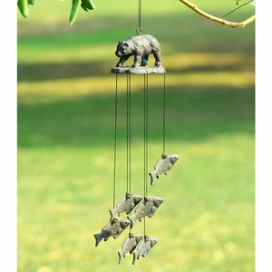 Cast Iron Wind Chime with Figurines of Bear and Salmon by SPI-HOME