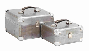 Sleek and Attractive Wooden Case Set of Two with Leather Handles - 50249 by Benzara