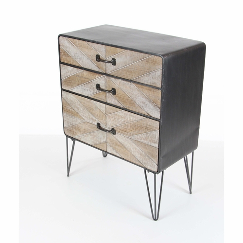 Buy cavernous 3 drawer metal wood cabinet at for Wild orchid furniture