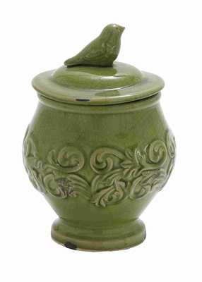 "Ceramic 10"" Floral Bird Jar with Bird on the Top in Green  - 71251 by Benzara"