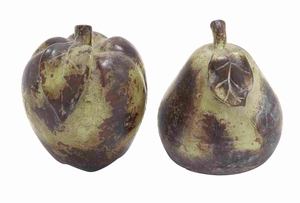 Yellow and Red Ceramic Apple and Pear for Dining Table (Set of 2) - 64890 by Benzara