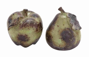 Ceramic Pear & Apple for Dining Table in Red and Blue (Set of 2)- 64891 by Benzara
