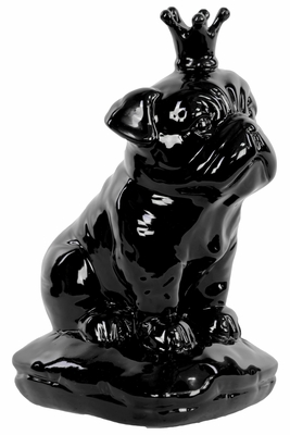 Ceramic British Bulldog with 5 Spiked Crown Sitting on a Cushion Gloss Black
