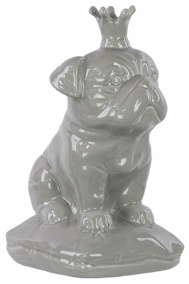 Ceramic British Bulldog with 5 Spiked Crown Sitting on a Cushion Gloss Gray