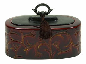 Ceramic Container With Decorative Handle - 61735 by Benzara