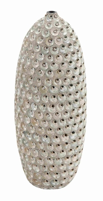 Durable Ceramic Material With Ceramic Hand Crafted Seashell Vase - 60869 by Benzara