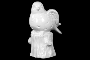 Ceramic Large Bird on Tree Trunk Gloss White