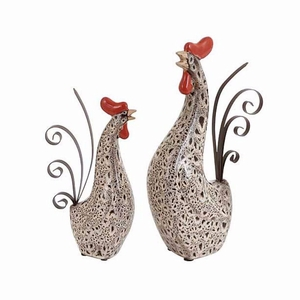 Ceramic Metal Rooster with Spotted Dark Brown Pattern - Set of 2 - 40841 by Benzara
