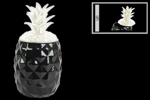 Ceramic Pineapple Canister with White Lid- Black- Benzara