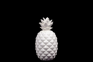 Ceramic Pineapple Showpiece Beautifully Sculpted w/ Realistic Detail in White Small